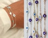 evil eye bracelet - multi evil eye bracelet - protection eye bracelet - blue evil eye - white evil eye - tiny evil eye -