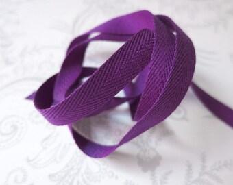 3/8in Purple Herringbone -- 3 yards -- Twill Tape -- 9.5mm
