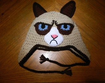 Grumpy Cat Inspired Hat with Ear Flaps