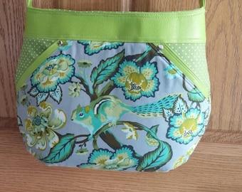Tula Pink Spring Purse, Lime Green, Aqua, Polka Dots, Over the shoulder Bag