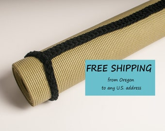 Yoga Mat Strap, Yoga Mat Sling, Black Slim Tote Handle - US Shipping Included - Made to Order,  Original HH Design