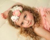 Flower Crown Tieback Headband, Easter Headband, Wedding, Photo Prop, Flower Headband Baby, Toddler Headband, - Light Pink - Fits all Sizes
