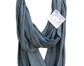Sharkskin Gray Jersey Infinity Scarf