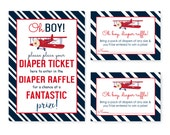 Airplane Insert Card Baby Boys, Diaper Raffle, Invitation Inserts, Navy Stripe, Baby Shower Game, Table Sign, Printable Activity (AIRTICKET)