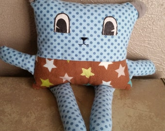 Square Bear Stuffed Bear Doll a Spindle and Sparrow Original Design Star and Polka Dot
