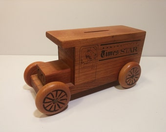 Vintage 1979 Kansas City Times/STAR Hand Crafted Wooden Toy Bank of a Newspaper Delivery Truck by Toystalgia Golden Valley, Mn.