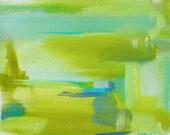 HALF PRICE SALE Original Abstract Art Painting Decor 11 X 14 Small Susan Skelley Free Domestic Shipping Gray Aqua Blue Lime Barefootin'