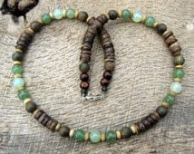 Mens surfer necklace, jade, aventurine, sandalwood, bone and coconut shell beads, tribal style, handmade, natural materials, one of a kind