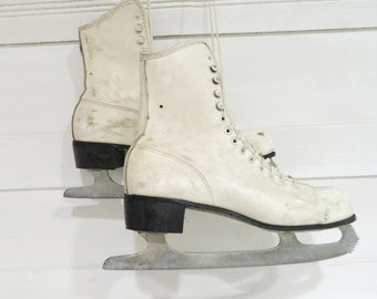 Vintage White Ice Skates Winter Decor