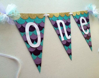 "MERMAID HIGH CHAIR ""one"" Glitter Banner for First Birthday Party Decoration / Photo Shoot / Smash Cake Session"