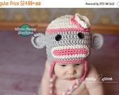 SALE Mrs. Sock Monkey Earflaps Hat - Crochet Baby Child Photo Prop Girl Boy Costume Halloween  Winter Outfit