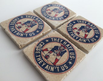 The New England Patriots Collection, Handmade Tumbled Tile Coasters