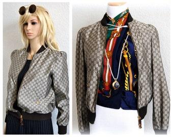 Vintage Gucci Jacket, Bomber, Training jacket, Pilot Jacket, Designer military style Outfits, Size Small, FINAL SALE