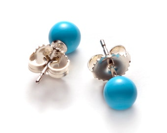 Natural Sleeping Beauty Turquoise Stud Earrings, 6 mm and/or 8 mm Sleeping Beauty Turquoise ball bead on Sterling silver post and ear-back