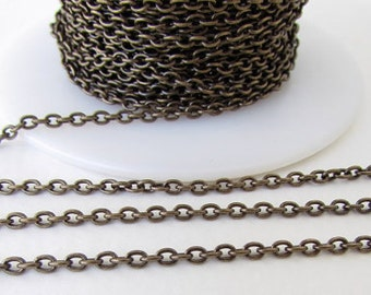 10ft Antique Bronze Cable Chain Cross Chain 3x2mm DIY Jewelry Making Supplies Findings