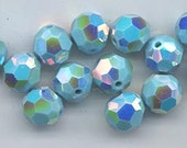 Twelve super-rare Swarovski crystals with a double AB coat - Art. 5000 - 8 mm - discontinued color turquoise with 2X AB