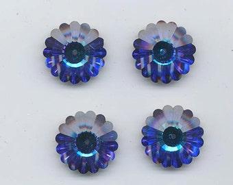 Four vintage Swarovski crystal margarita beads: Art. 3701 - 20 mm - effect color heliotrope II