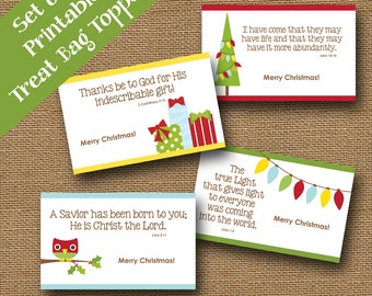 Kids Christmas Printable Treat Bag Toppers | Cute Treat Toppers | DIY PRINTABLE | Christian Christmas Scripture, Bible Verse Treat Bag Label