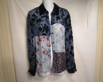 Josephine Chaus Patchwork Velvet Shirt