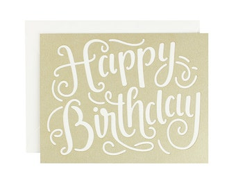 Birthday Calligraphy Laser Cut Card
