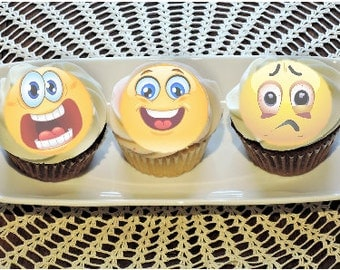 rice paper EMOTIOCON, EMOJI cupcake or cookie toppers