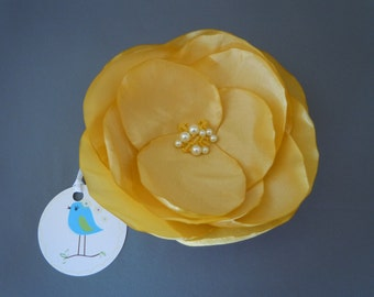 Yellow Wedding Corsage, Yellow Wedding Fascinator, Wedding Dress Accessory, Bridal Hair Accessory
