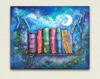 """SALE! The Magic of Fairy Tales, 16""""x20"""" Original one of a kind, books library decor, old books, fantasy whimsical fairy faery door"""