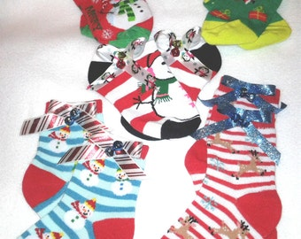 Toddler Girl Christmas Socks w Designer Ribbon Bows wBells....Toddler Girls..Christmas, Partywear, Photo Prop,Gingerbread,Santa,Penquins