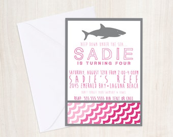 Girls Shark party Invitation in Pink- Pool party Invitation- party supplies