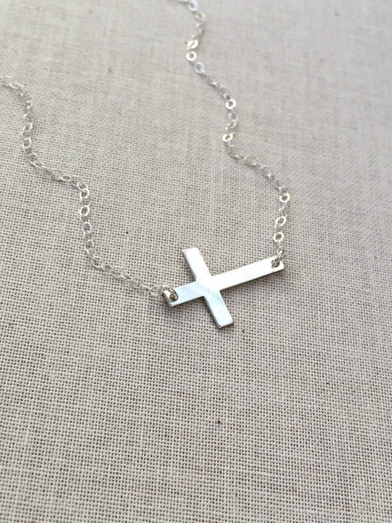 Sideways Cross Necklace, Silver Cross Necklace, Sterling Silver Chain, Sterling Silver Cross Pendant, Gift for Her, Christmas Gift