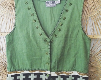 Vintage 90s Cotton/Linen Blend Ethnic Tribal India Southwestern Hippie Boho Vest Top