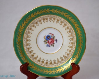 Aynsley Green Floral Replacement Saucer, Bone China Replacement Dinnerware, pattern 890,  ca. 1939