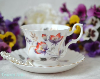 Royal Albert Orange And Purple Flowers Teacup and Saucer Set, English Bone China Tea Cup, Tea Party, ca. 1960-1970