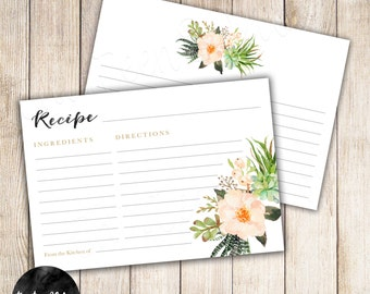 Recipe Card, Succulents, Flowers, Watercolor, Gold, Blank Cards, INSTANT DOWNLOAD DIY 4x6 Printable - 15