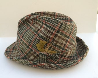 Vintage Plaid Tweed Fedora By Champ Size 7-5/6 Mid Century Fall Fedora Green Olive Rust Plaid Wool Fedora Winter Fedora Men's Hat