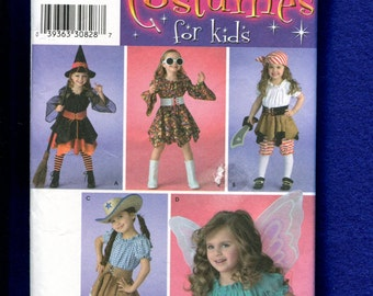 Simplicity 3680 Pirate Cowgirl Witch & Fairy Costumes for Girl Size 3 to 7