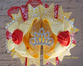 Beauty and The Beast Bow, Belle Hair Bow, Belle Costume Accessories, Yellow and Red Bow Tiara Center