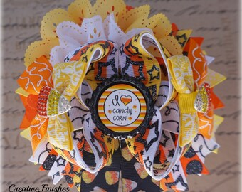 Candy Corn Bow, Halloween Hair Bow, OTT Halloween Bow, Outfit Accessories