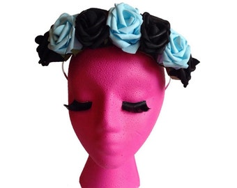 Pastel Goth Rose Flower crown: Baby blue Pastel Flower Halo, pastel grunge, indie, kawaii, pastel, pale, hipster flower crown,