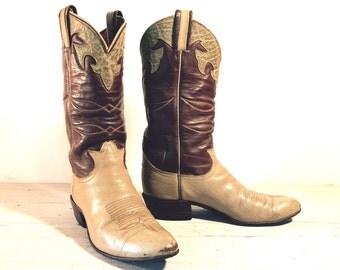 60's Vintage Cowboy Boots, Tony Lama Black Label, Beige & Brown All Leather with Antelope Scalloping, Women's size 6 B