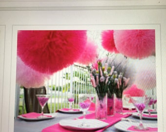 "6 jumbo 18"" 9 x  14"" x large tulle poms  for weddings birthday parties, baby shower and more..."