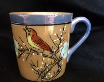 Japan Lusterware bird blossoms tea cup, peach blue bone china