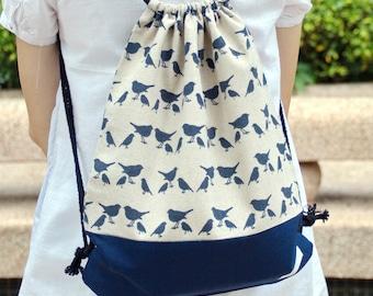 Drawstring backpack/ Cotton backpack/ Drawstring bag/ handmade backpack/ Gym bag/ Swim bag  ~ Navy birds (b) (B46)