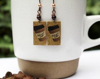 Coffee Earrings Brown Bead Earrings Gemstone Beaded Jewelry Mixed Media Jewelry Earrings Long Boho Earrings Rustic Mixed Metal Dangle