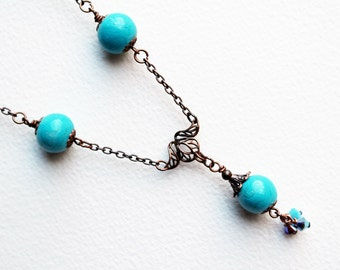 Blue Bead NecklaceTeal Beaded Jewelry Long Boho Necklace Lariat Crystal Pendant