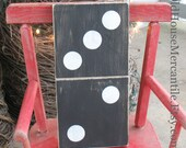 Domino - hand painted - antique white on black - hand made - gallery wall art