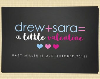 Valentines pregnancy announcement card - Valentine's Day greetings card (a little valentine...)