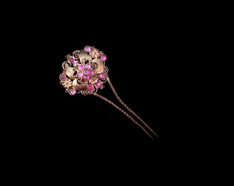 Vintage Indonesian Hair Pin, Openwork Filigree Brass Mauve Pink Glass Comb, Traditional Sumatran Bridal Hairpin, Love Token, Gift for Her
