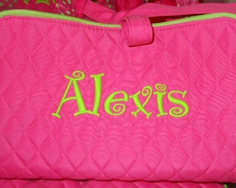 Personalized 3PIECE PINK w/ lime trim Cosmetic makeup Case