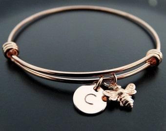Bumble bee bracelet Rose gold bracelet Honey bee charm bracelet Personalized Jewelry Initial bracelet